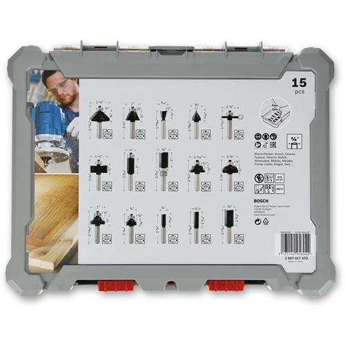 """Bosch 15 Piece Router Cutter Set - 1/4"""""""