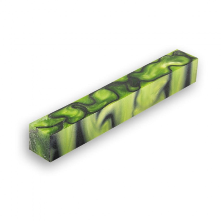 Toxic Green & Black Acrylic Pen Blank