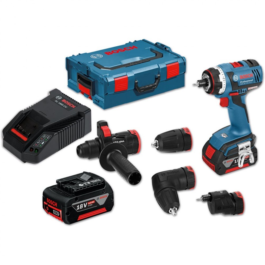 Bosch GSR18V-EC FC2 Set Combi & 4 Attachments 18V (4.0Ah)