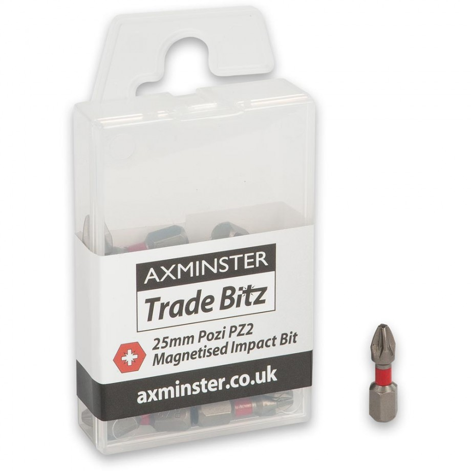 Axminster Trade Bitz PZ2 Impact Bits 25mm (Pkt 25)