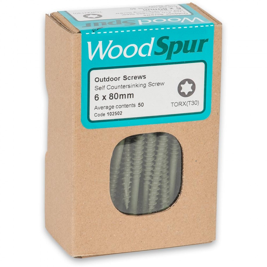 WoodSpur Outdoor Screws 6 x 80mm (Qty 50)