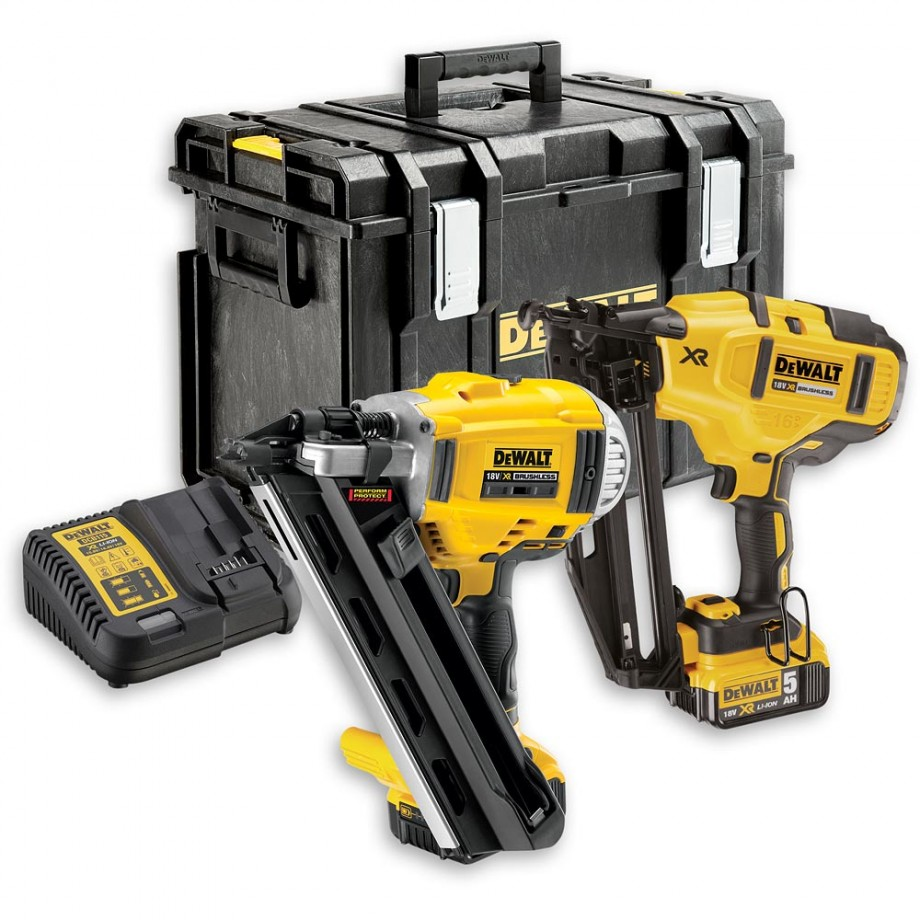 DeWALT DCK264P2 Nail Gun Twin Pack 1st & 2nd Fix 18V (5.0Ah ...
