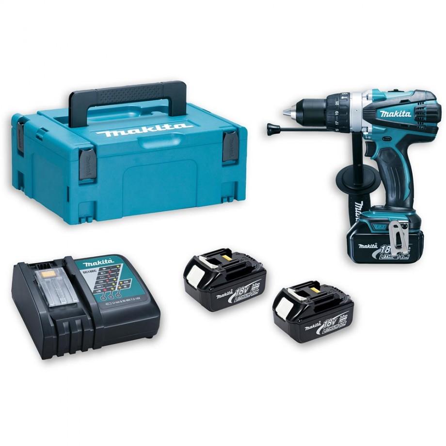 Makita DHP458RF3J Combi Drill Kit 3 x 3.0Ah - Combi Drills - Drills ...