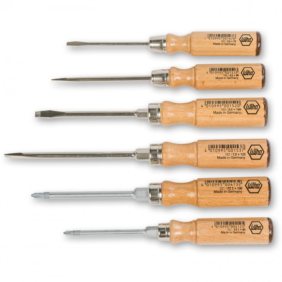 Wiha 6 Piece Wooden Slotted & Pozi Screwdriver Set