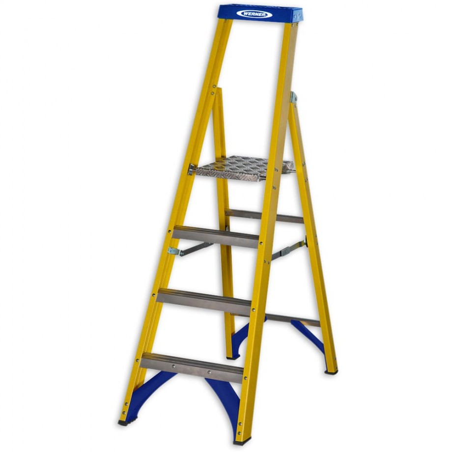 Werner Fibreglass Platform Stepladder Trade 4 Tread