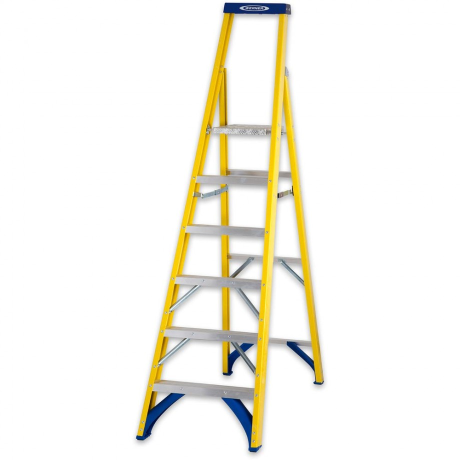 Werner Fibreglass Platform Stepladder Trade 6 Tread
