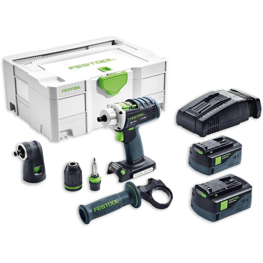 Festool DRC 18/4 Li 5.2 SET Cordless QuaDrill AIRSTREAM 18V