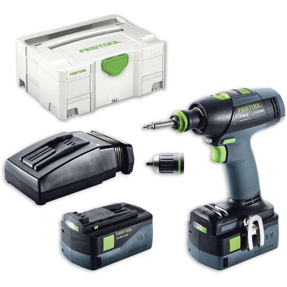 Festool T18+3 Li 5.2 PLUS Drill Driver AIRSTREAM 18V