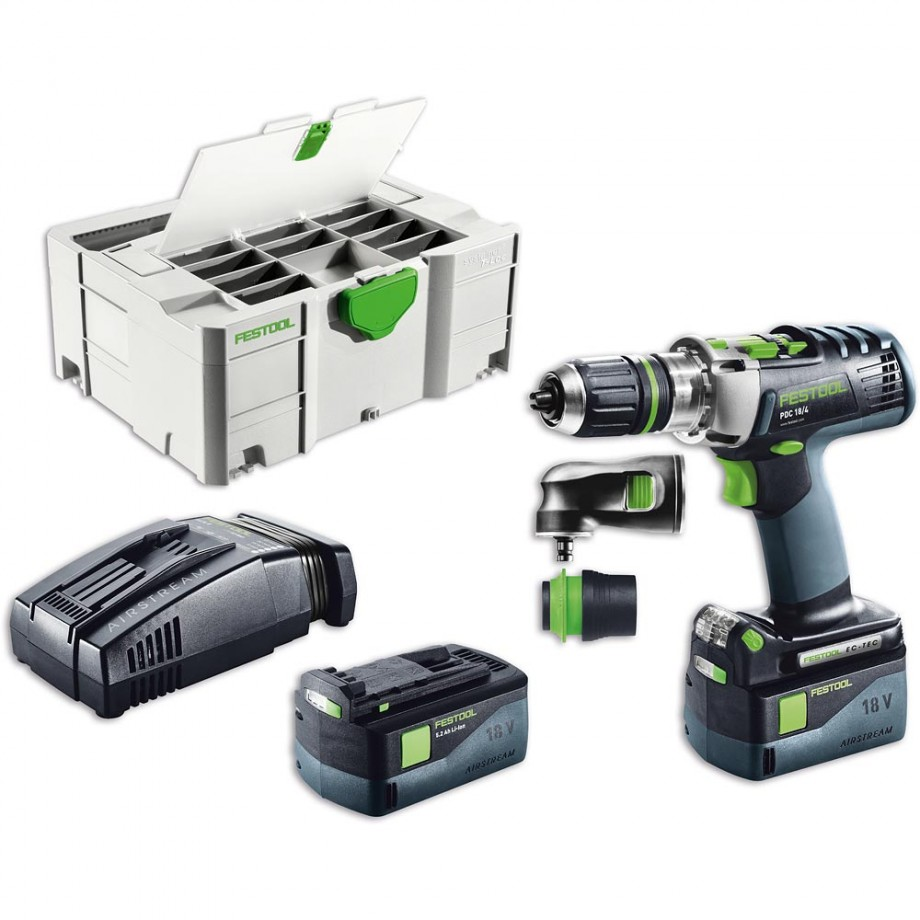 Festool PDC 18/4 Li 5.2 SET Combi Drill AIRSTREAM 18V
