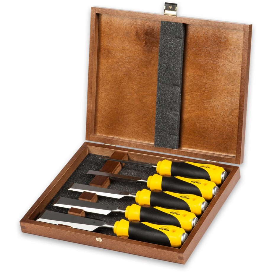 Axminster Rider 5 Piece Bevel Edge Chisel Set Soft-Grip Handle