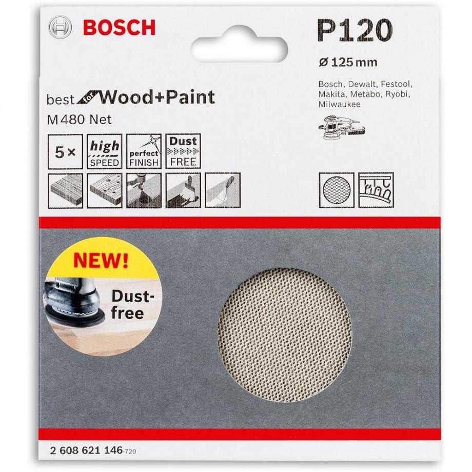 Bosch Net M480 Abrasive 125mm x 120G Pkt 5