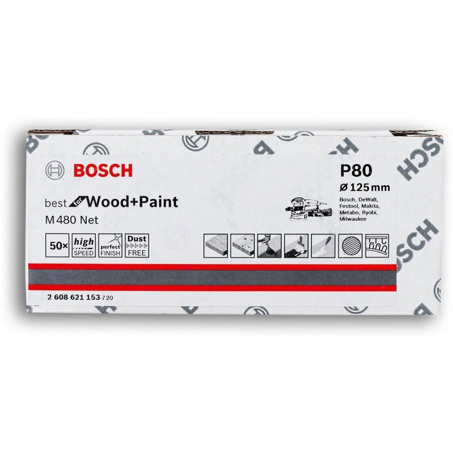 Bosch Net M480 Abrasive 125mm x 80G Pkt 50