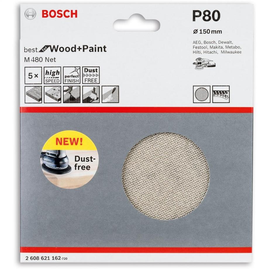 Bosch Net M480 Abrasive 150mm x 80G Pkt 5