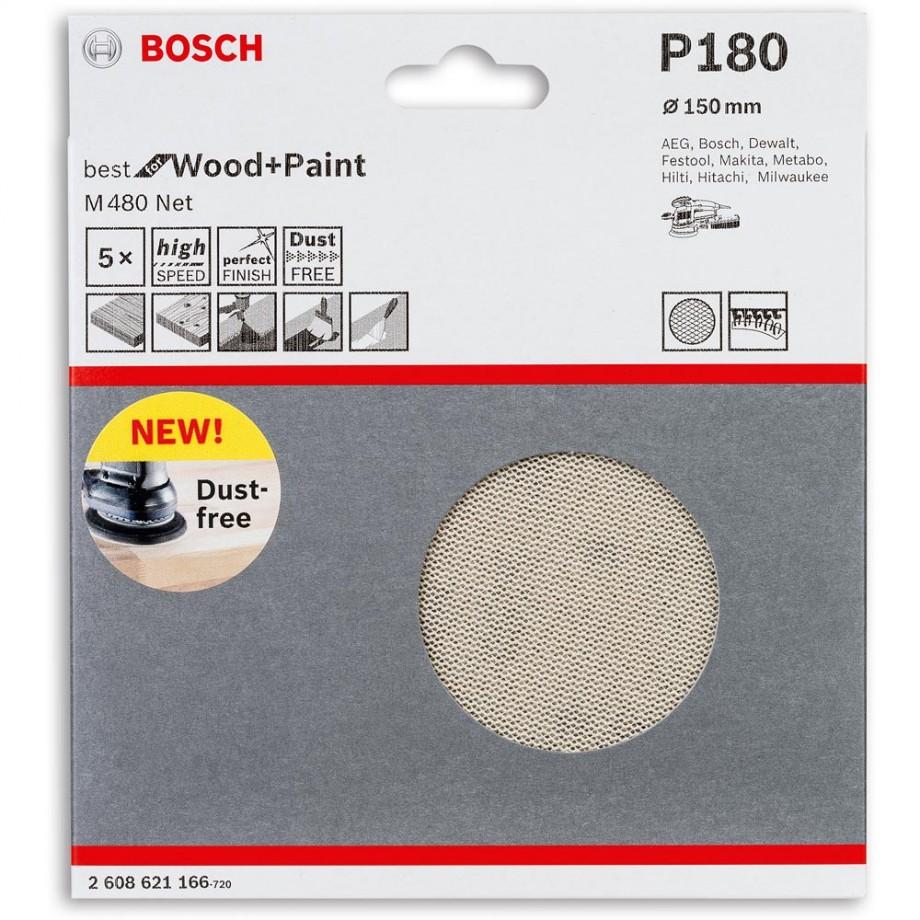 Bosch Net M480 Abrasive 150mm x 180G Pkt 5