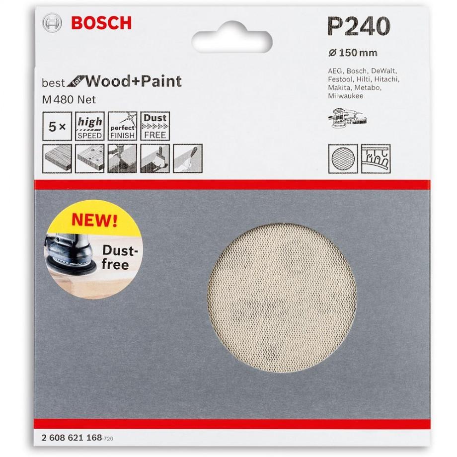 Bosch Net M480 Abrasive 150mm x 240G Pkt 5