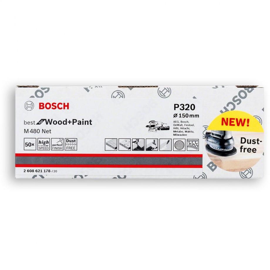 Bosch Net M480 Abrasive 150mm x 320G Pkt 50