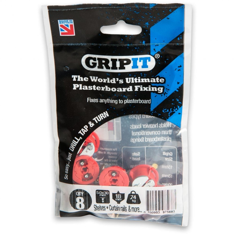 GripIt 18mm Plasterboard Fixings Red (Pkt 8)