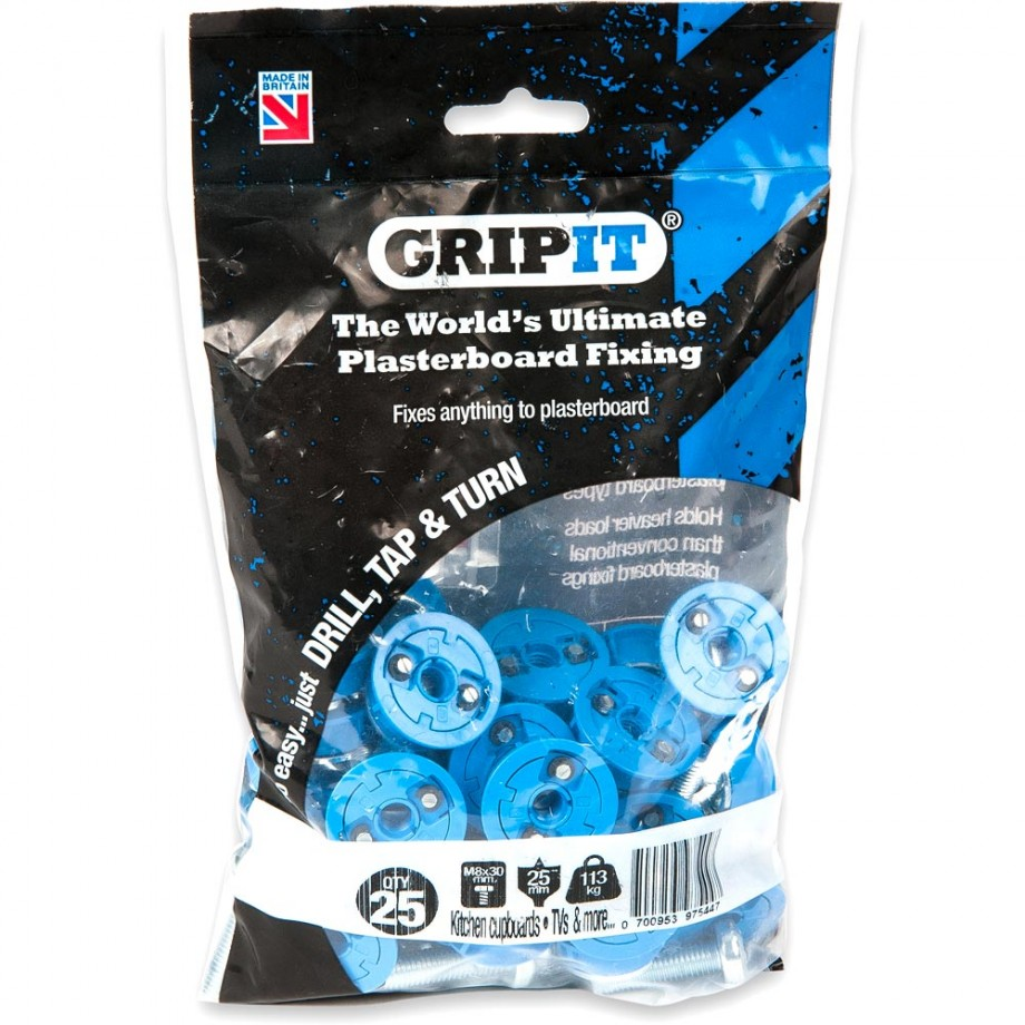 GripIt 25mm Plasterboard Fixings Blue (Pkt 25)