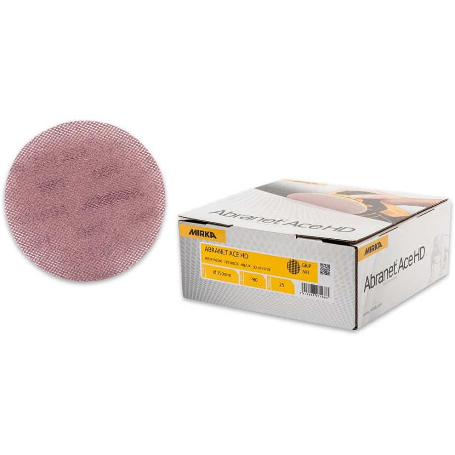 Mirka Abranet Ace HD Abrasive Discs 80g - 150mm (Pkt 25)