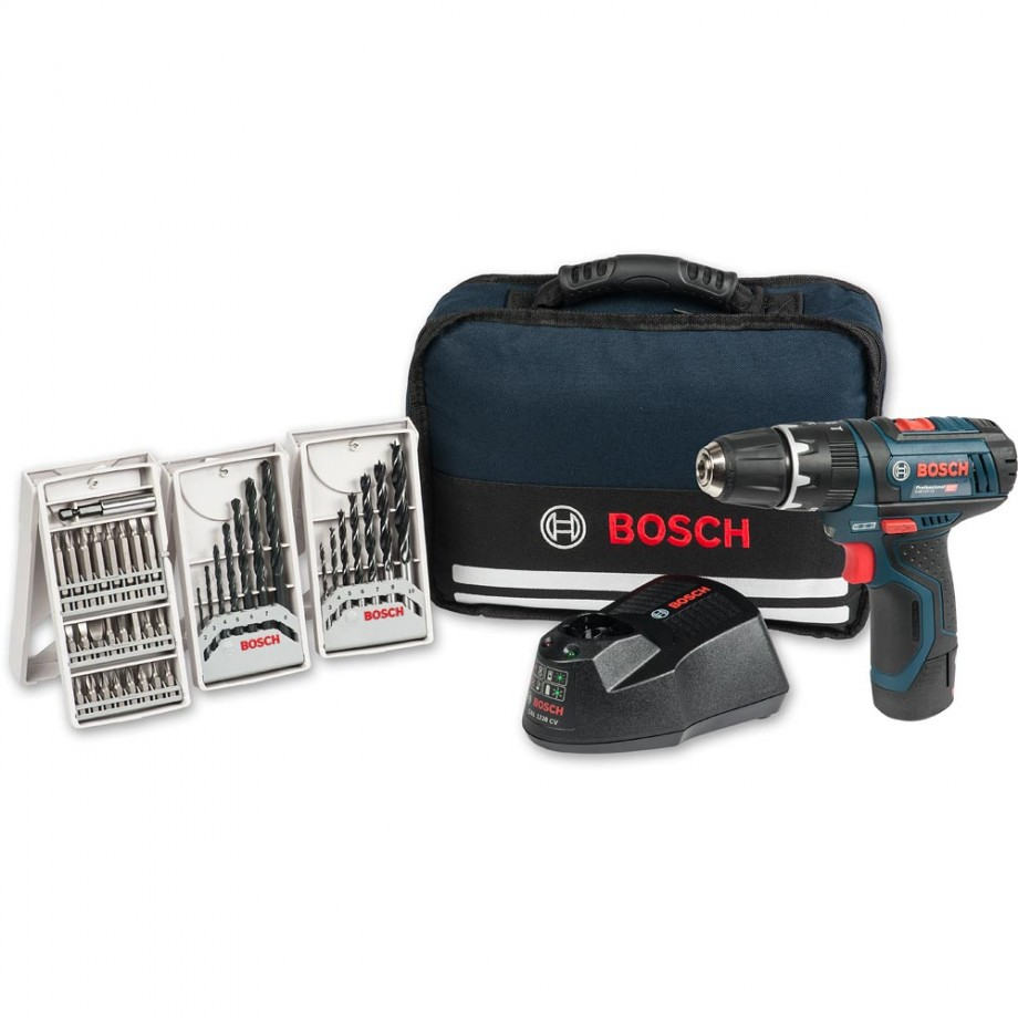 Bosch GSB12V-15 Combi Drill 12V (2.0Ah) with Bag & 39 Accessories