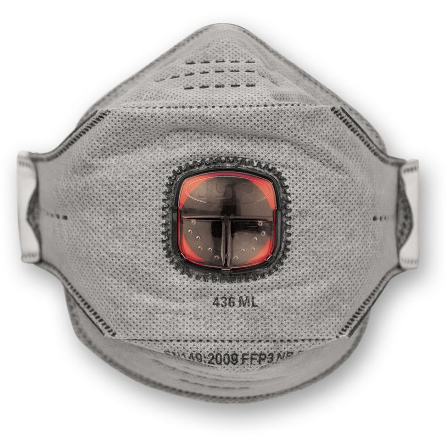 JSP SpringFit Fold Flat Valved Respirator FFP3 Carbon Layer (Pkt 10)
