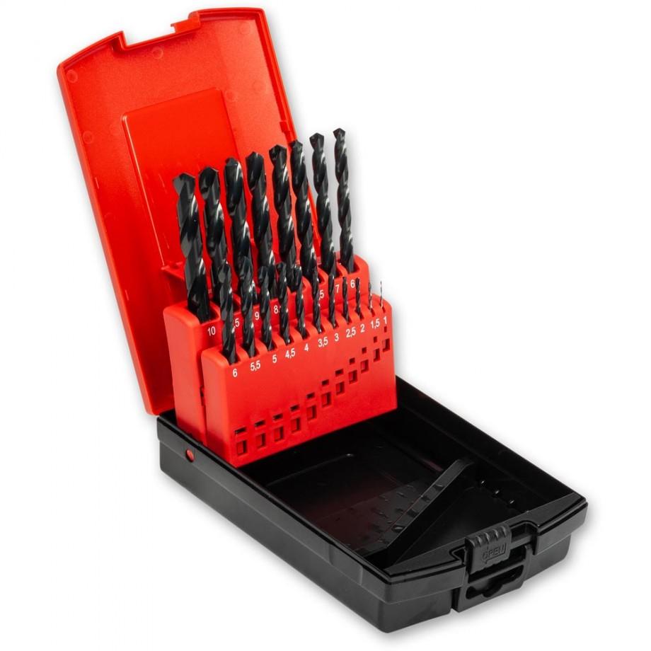 Axminster Metric HSS 1-10mm x 0.5 Drill Set 19 Piece