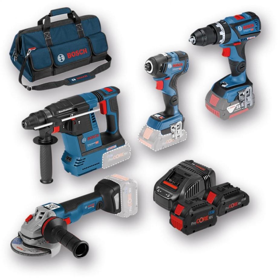 Bosch 4 Piece Cordless Kit & 3 ProCore Batteries 18V