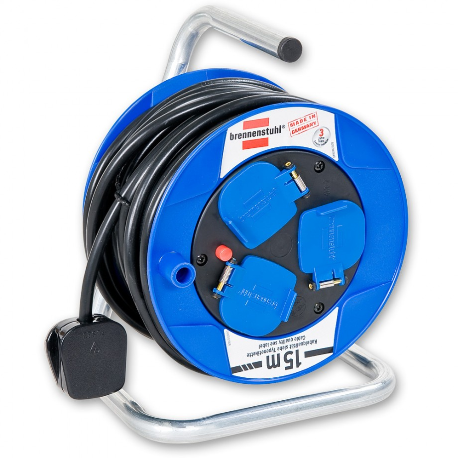 Brennenstuhl 3 Way Socket Compact Cable Reel 15m Reels Retractable Cord Electrical