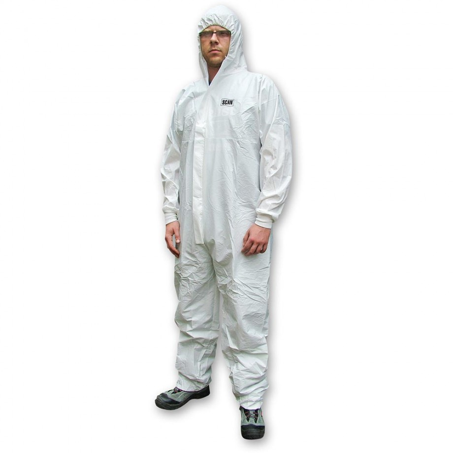 Scan Chemical Splash Resistant Disposable Coverall White Type 5/6 Large