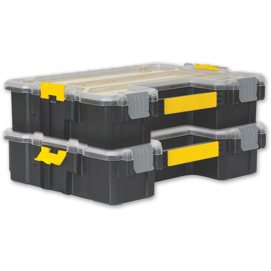 stanley fatmax deep pro organiser twin pack organiser cases small parts storage and. Black Bedroom Furniture Sets. Home Design Ideas