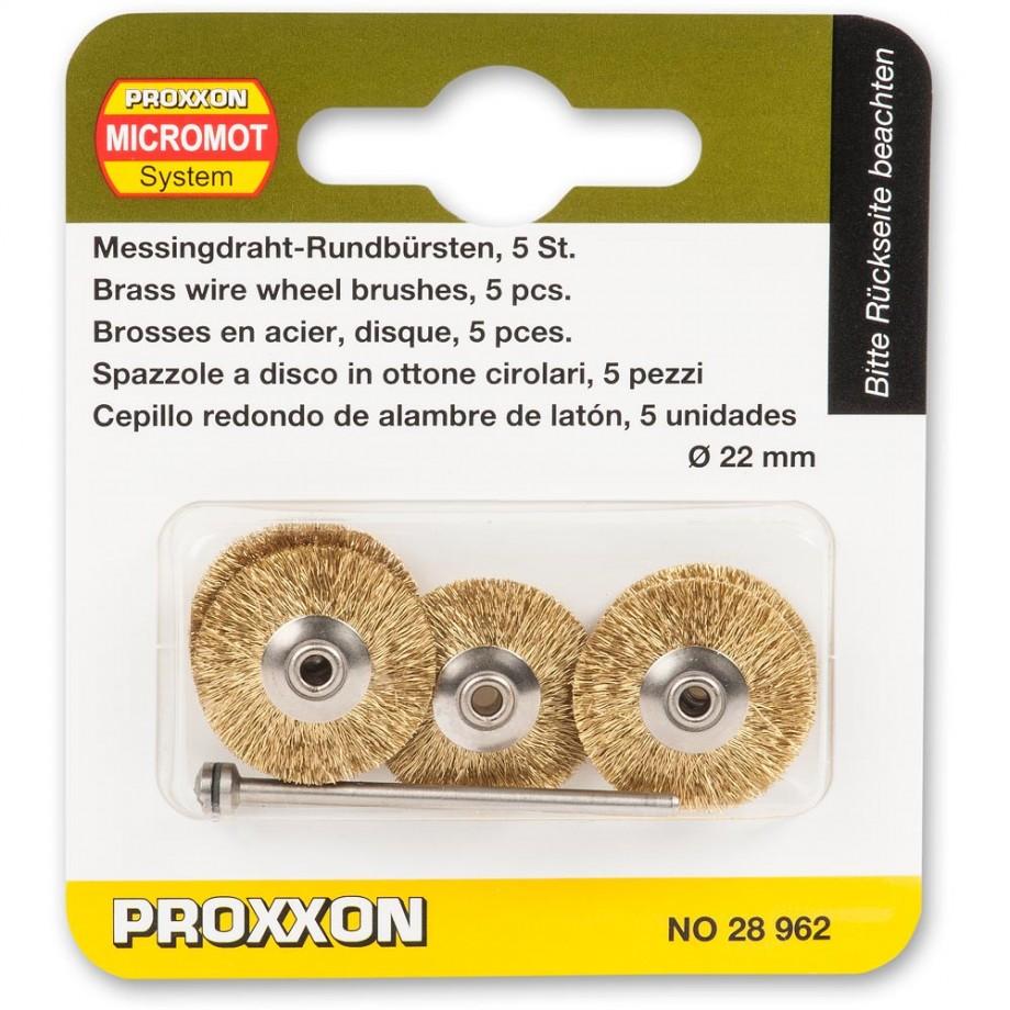 Proxxon Wire Wheel Brush - Brass 22mm (Pkt 5)