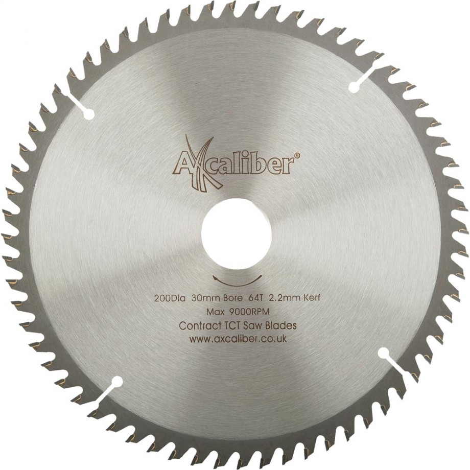 Axcaliber Contract TCT Saw Blade Extra Fine - 200mm x 2.2mm x 30mm T64