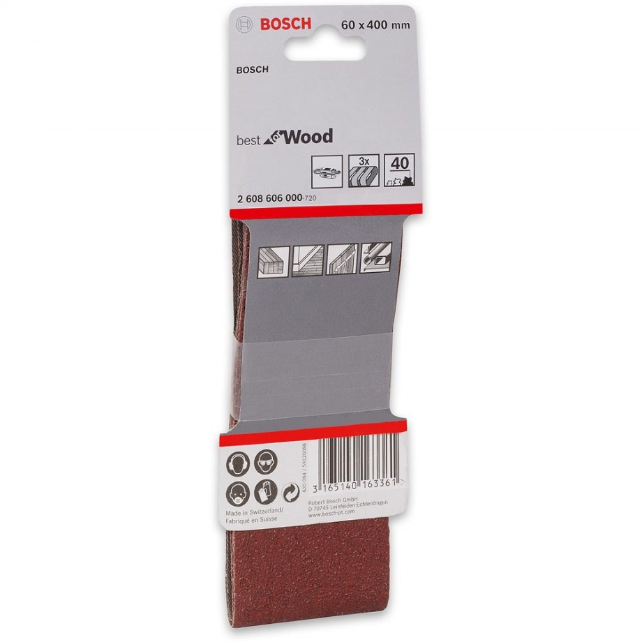Bosch Cloth Sanding Belt 60 x 400mm x 100 Grit (Pkt 3)