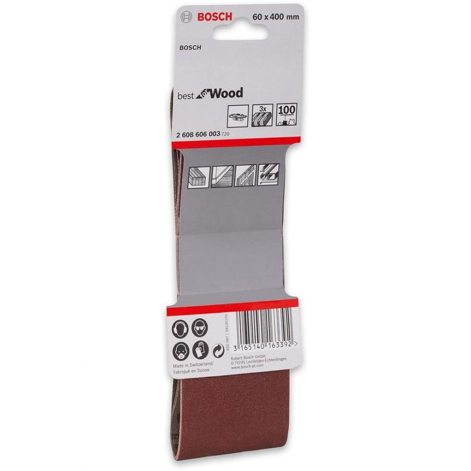 Bosch Cloth Sanding Belt 60 x 400mm x 100 Grit (Pkt 3)