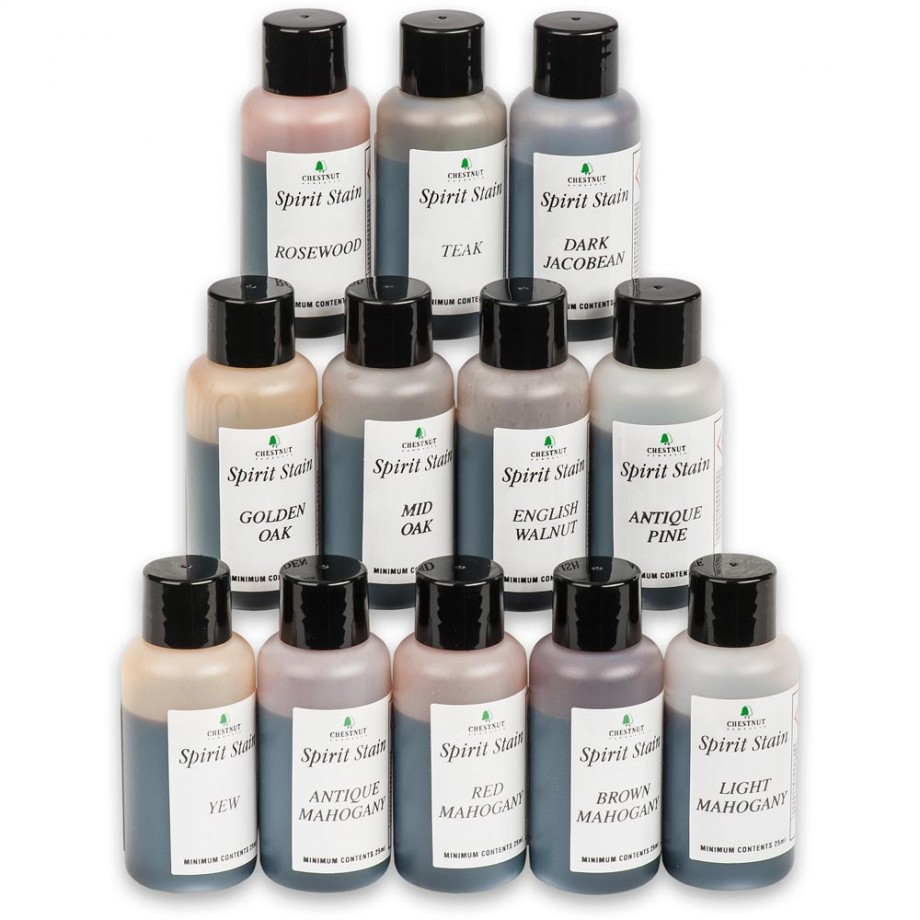 Chestnut Spirit Wood Stain - Wood Colours Pack - 12 x 25ml