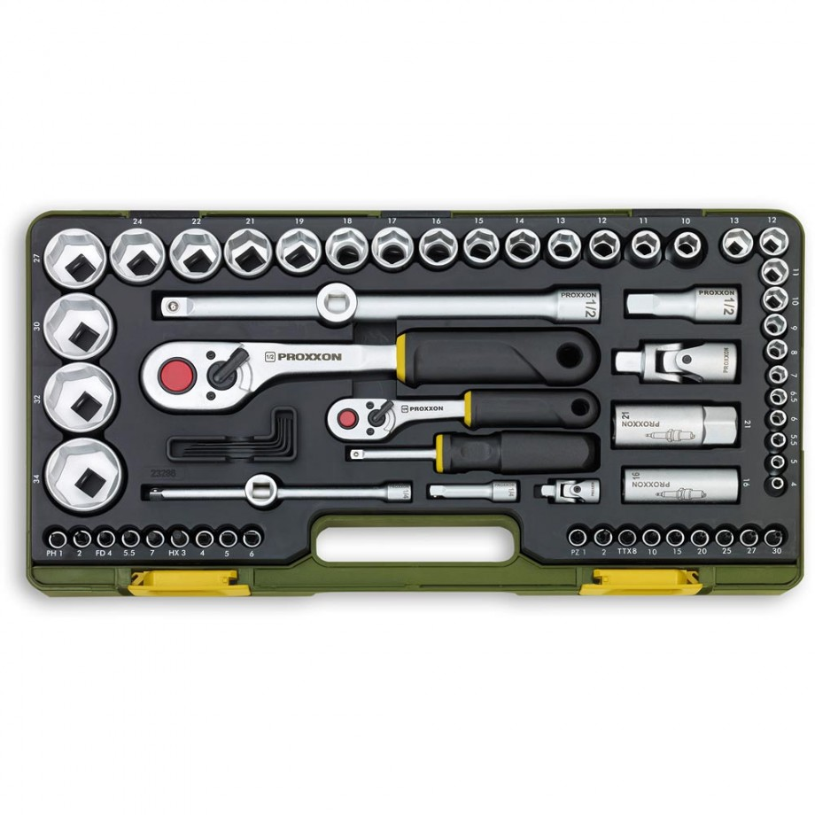 "Proxxon 65 Piece Metric Socket Set (1/4"" & 1/2"")"