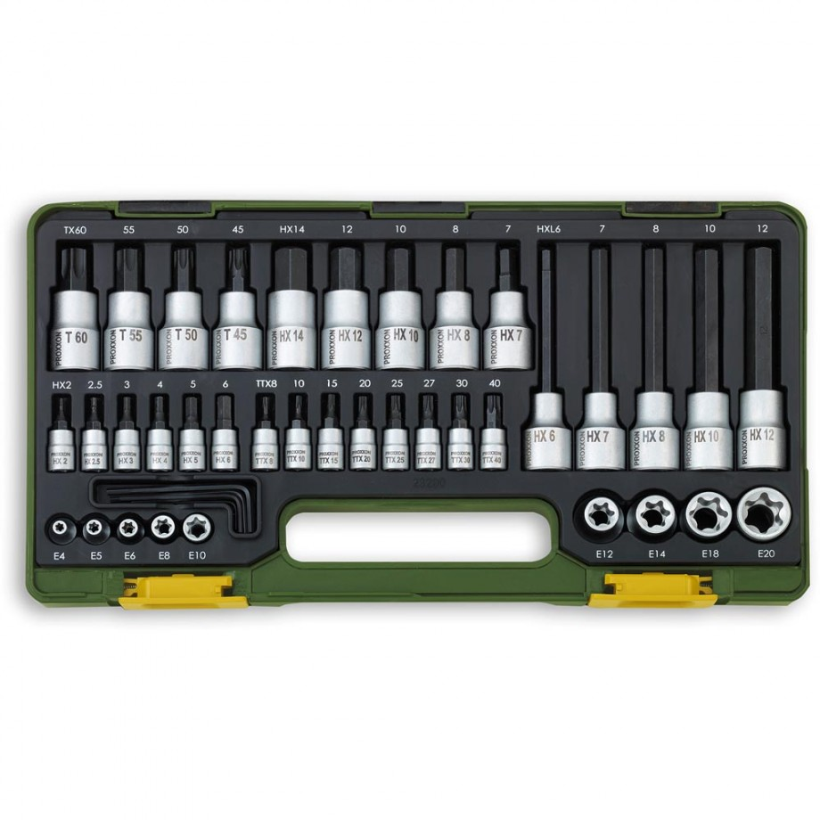 "Proxxon 41 Piece Special Socket Set for Torx & Hex (1/4"" & 1/2"")"