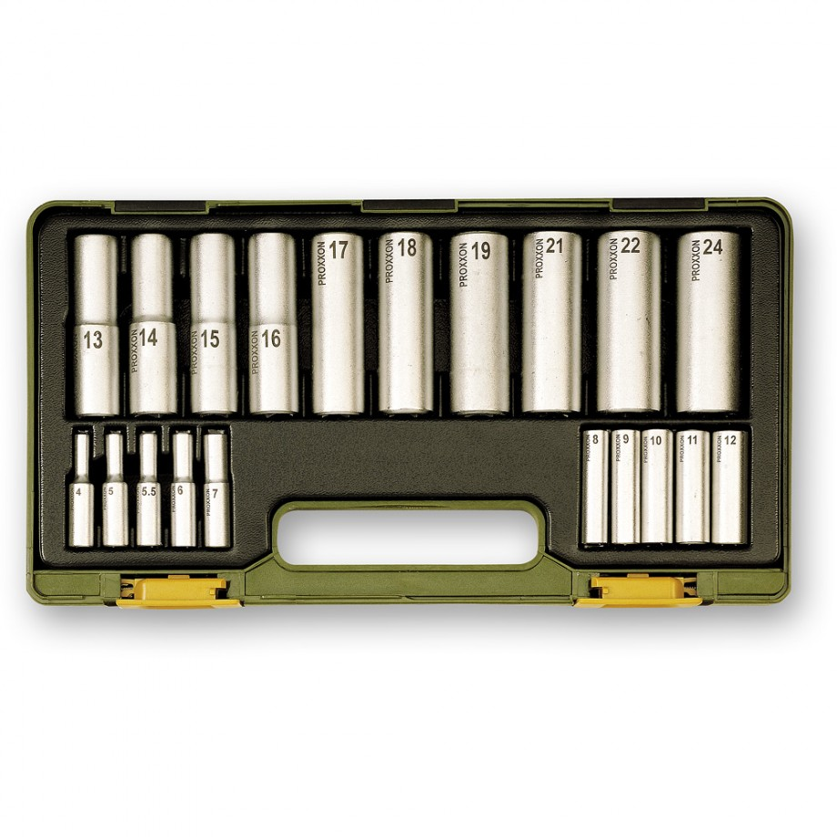 """Proxxon 20 Piece Deep Socket Set (1/4"""" & 1/2"""")"""