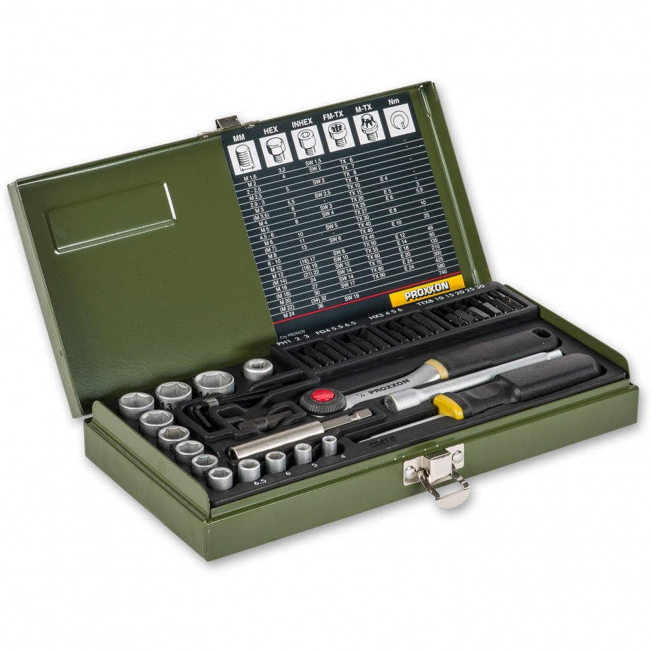 "Proxxon 39 Piece Screwdriver and Socket Set (1/4"")"