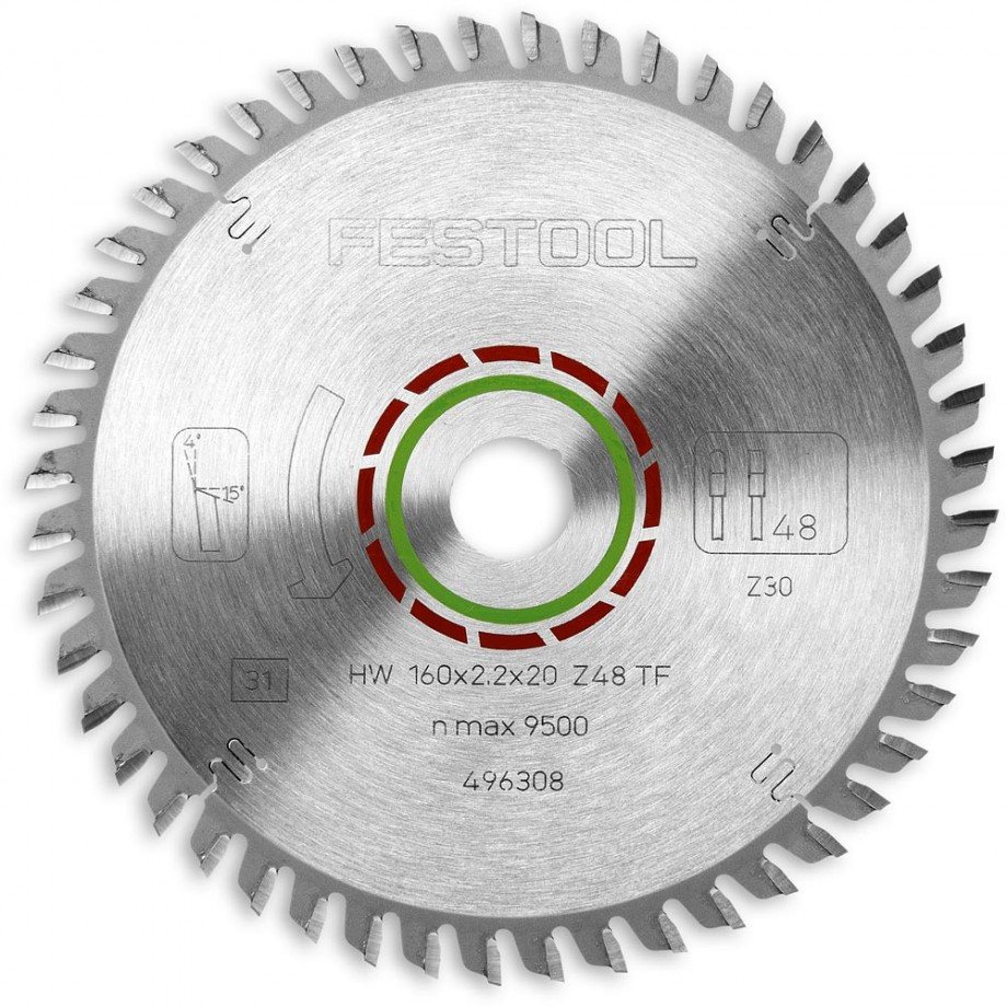 Festool 160mm TCT Saw Blade Laminate/Corian - 48T