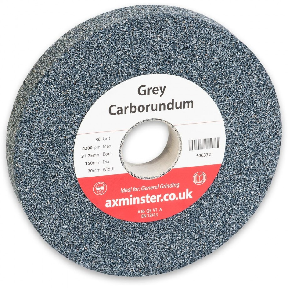 Axminster Aluminium Oxide 'Grey' Grinding wheel - 150 x 20 x 31.75mm(bore) 36G