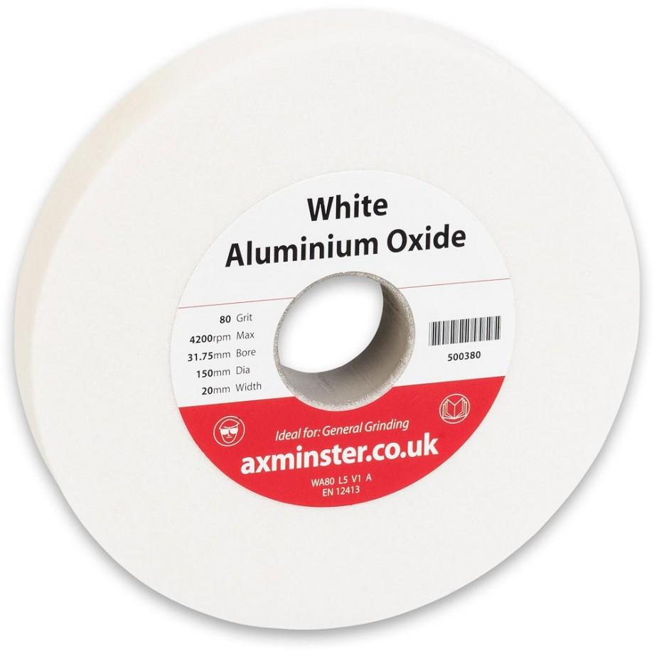Axminster Grindstone Aluminium Oxide White - 150 x 20 x 31.75mm 80G