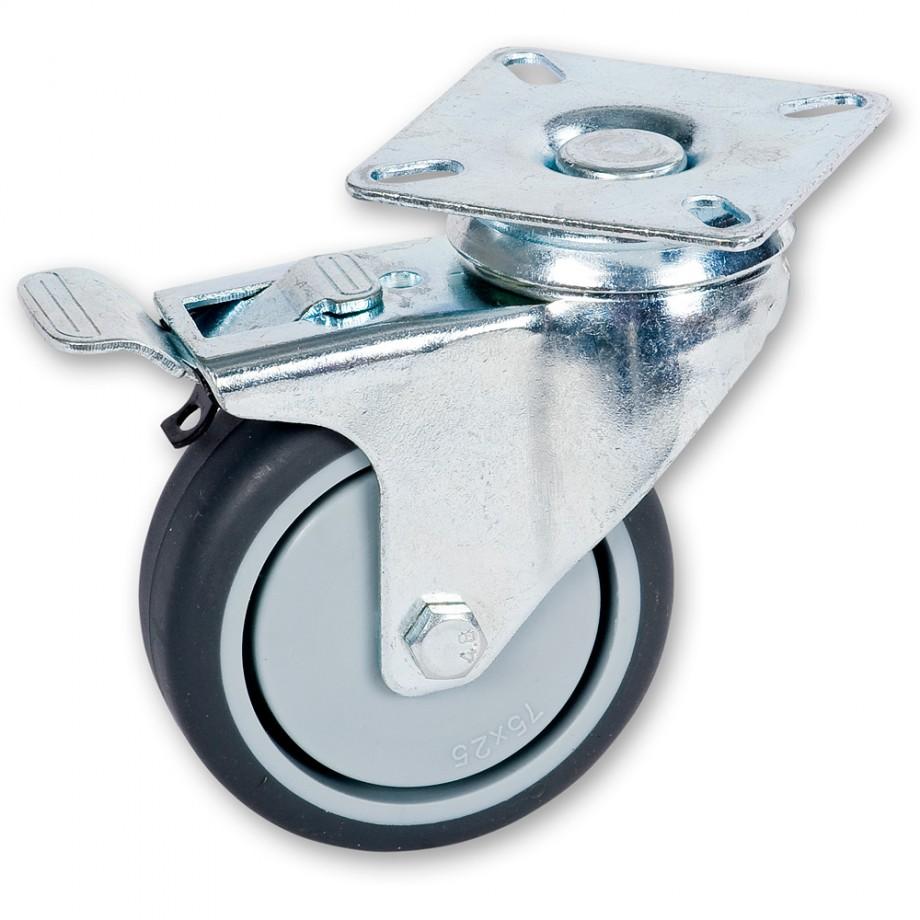 Axminster Castoring Wheel Braked 75mm
