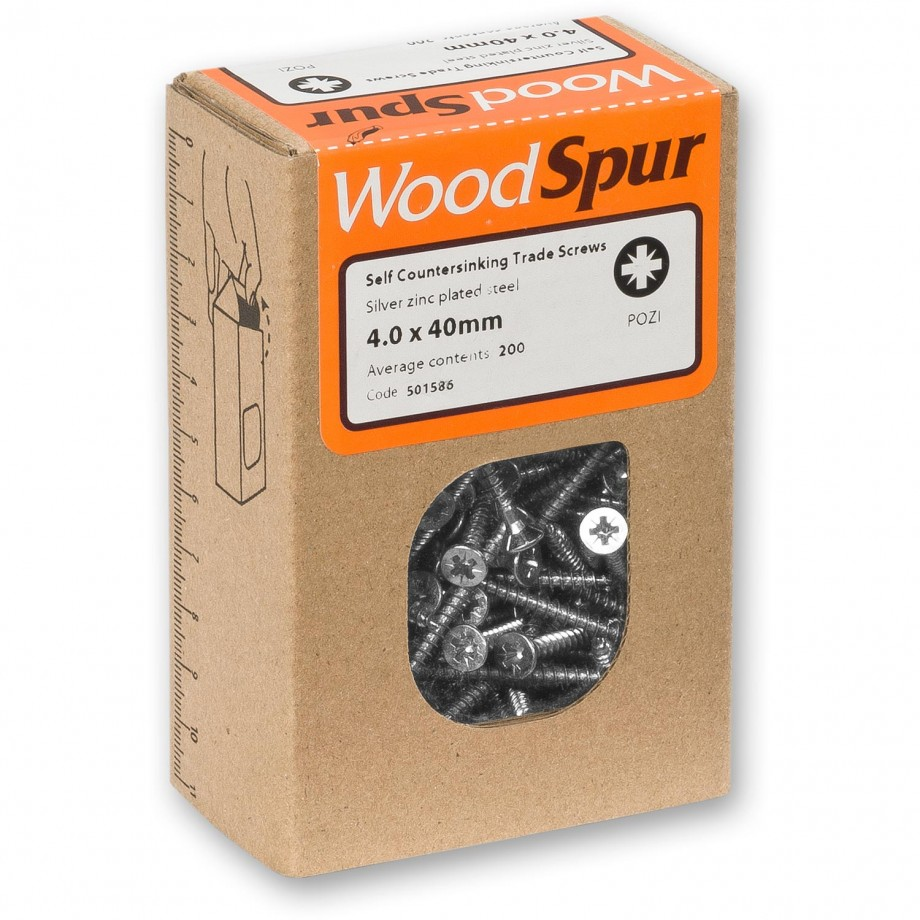WoodSpur Trade Pozidrive Wood Screws 4.0 x 40mm (Qty 200)