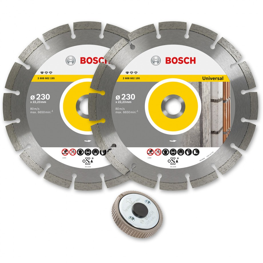 Bosch 230mm Diamond Disc Twinpack and SDS Clic Nut M14