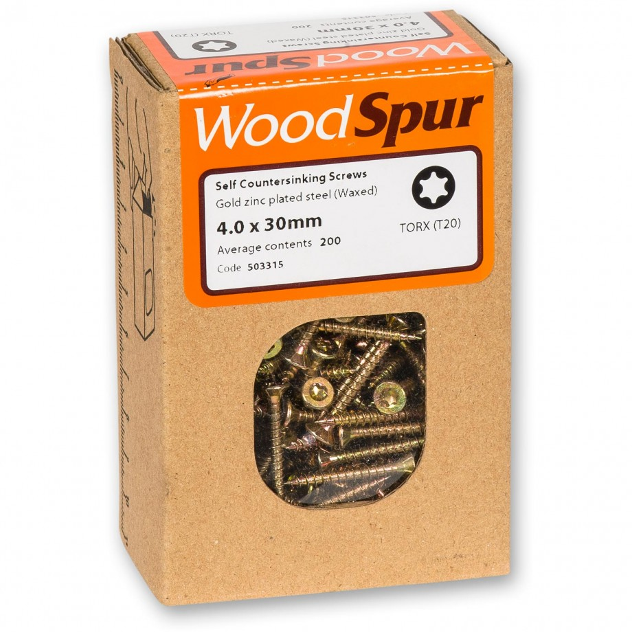 WoodSpur Torx Self Countersinking Screws T20, 4.0 x 30mm(Qty 200)