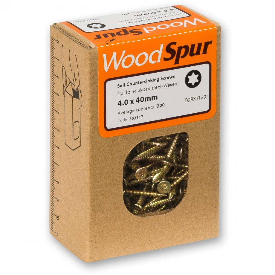 WoodSpur Torx Self Countersinking Screws T20, 4.0 x 40mm(Qty 200)