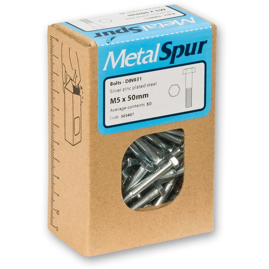 MetalSpur Bolts, M12 x 50mm (Qty 50)