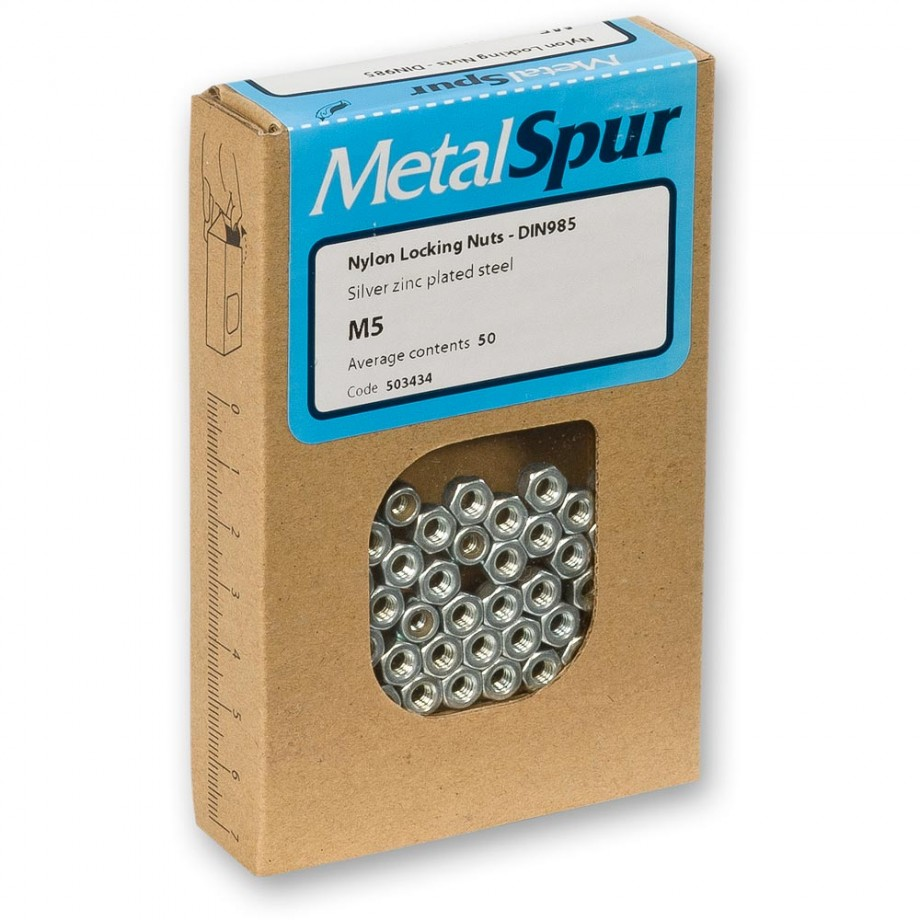 MetalSpur Nylon Locking Nuts, M10 (Qty 50)
