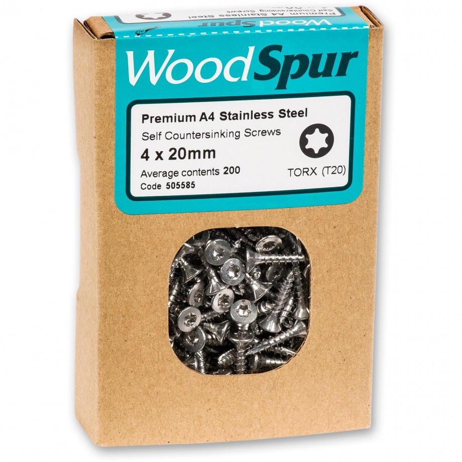 WoodSpur A4 Stainless wood screw CSK 4 x 20mm T20 (200)